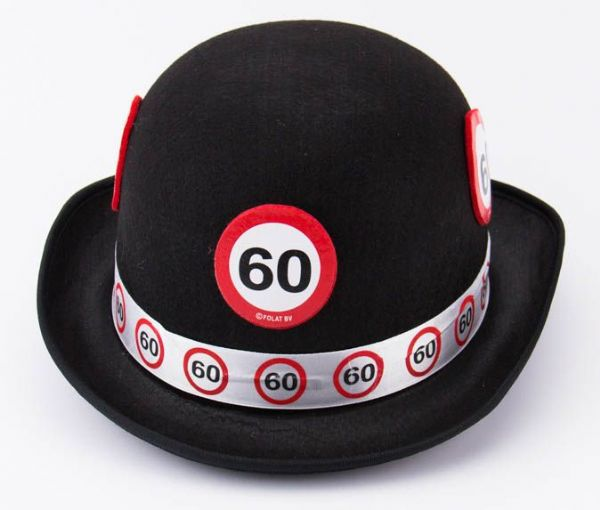 Traffic Sign 60th Party Black Bowler Hat Birthday Novlety Gift Favour Favor